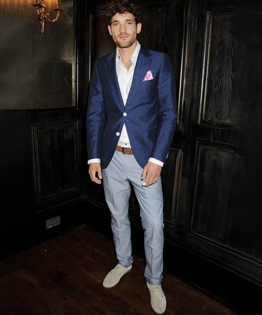 Blue Blazer with Grey Pants Combination