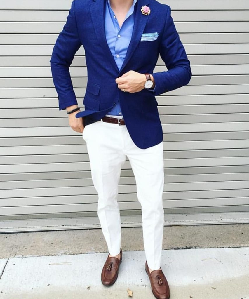 Blue Blazer with White Pants Combination