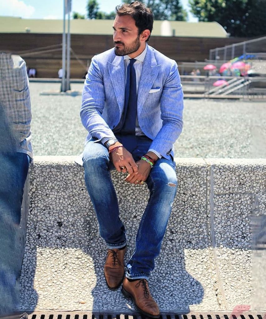Light Blue Blazer Combination with Jeans