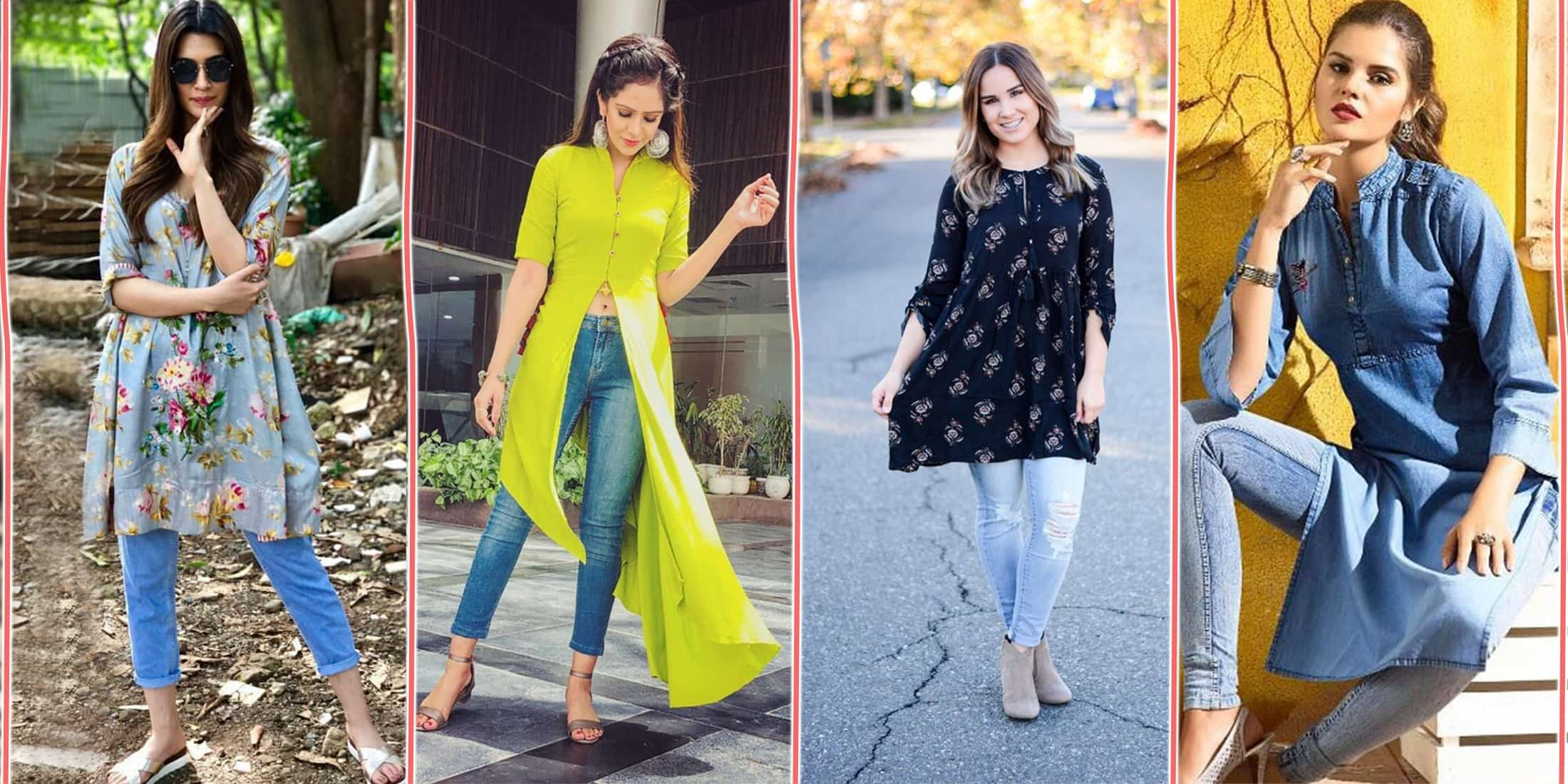 Different Types of Kurti With Jeans Style - Jeans Kurti Design 2020