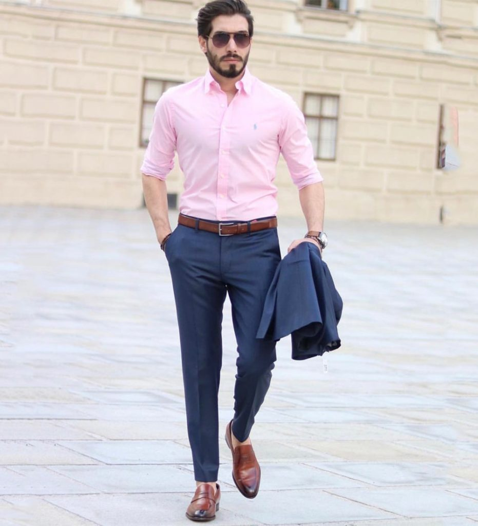 Formal Pink Shirt Blue Pants Combination | Beyoung Blog