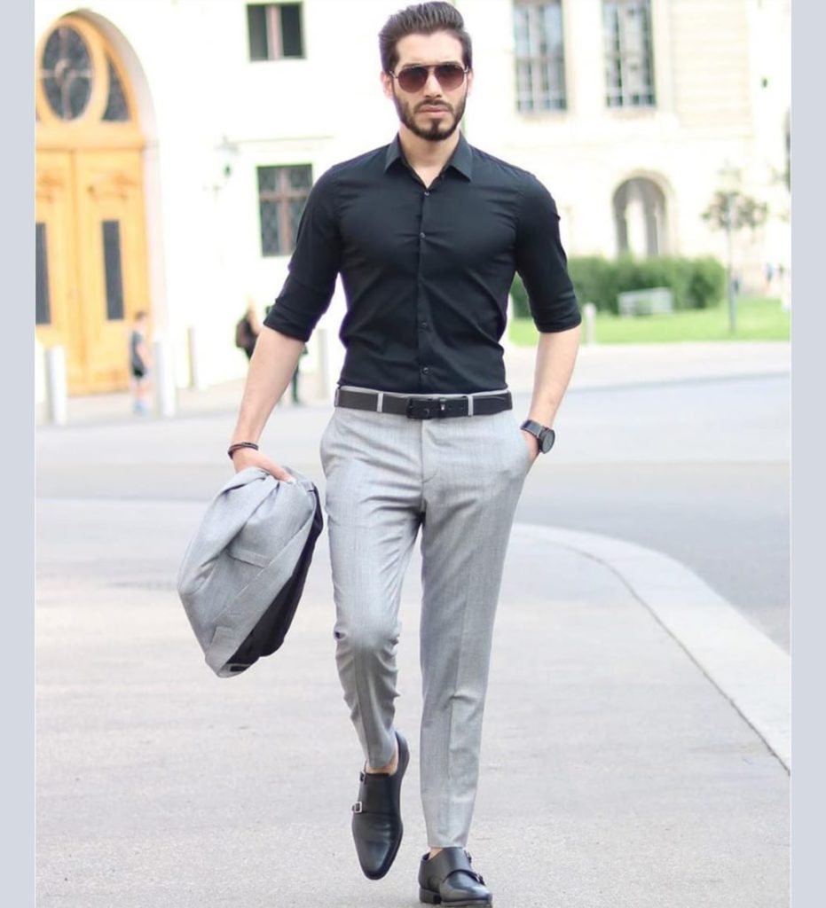 Black Shirt Grey Pants Combination
