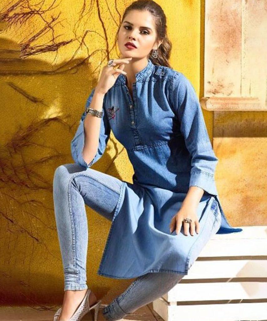 Denim Kurti And Jeans - Jeans Kurti Design