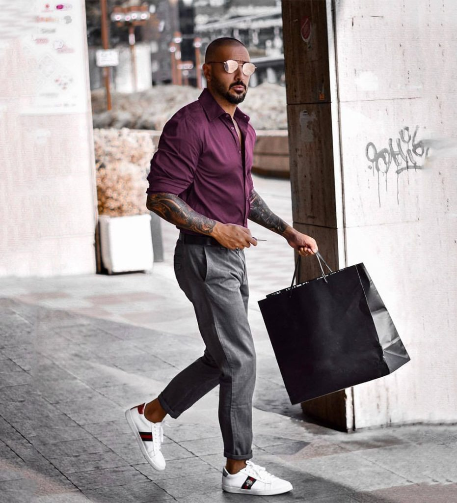 Grey Pants Purple Shirt Combination - Beyoung Blog