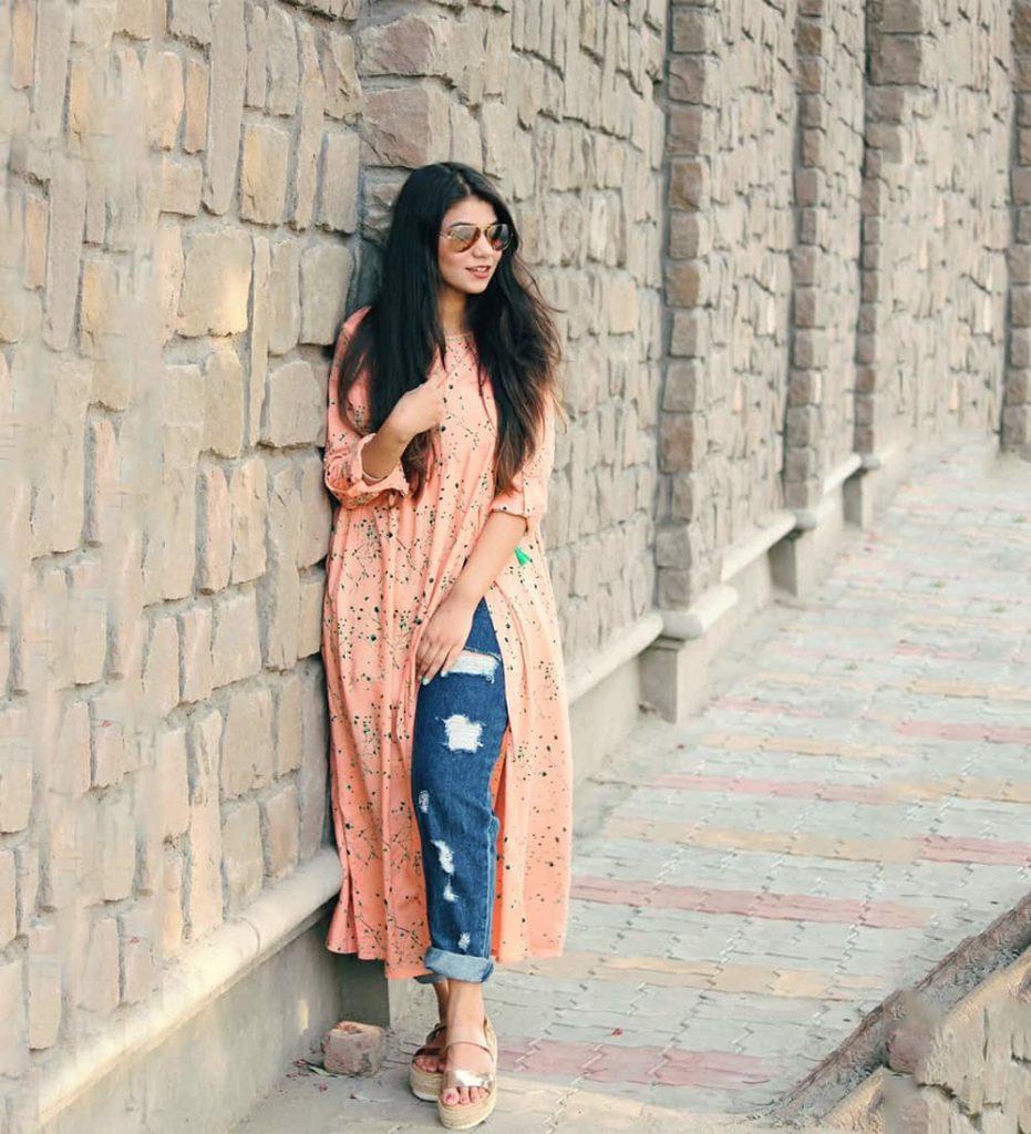 Plain Kurti with Jeans Style - Jeans Kurti Designs