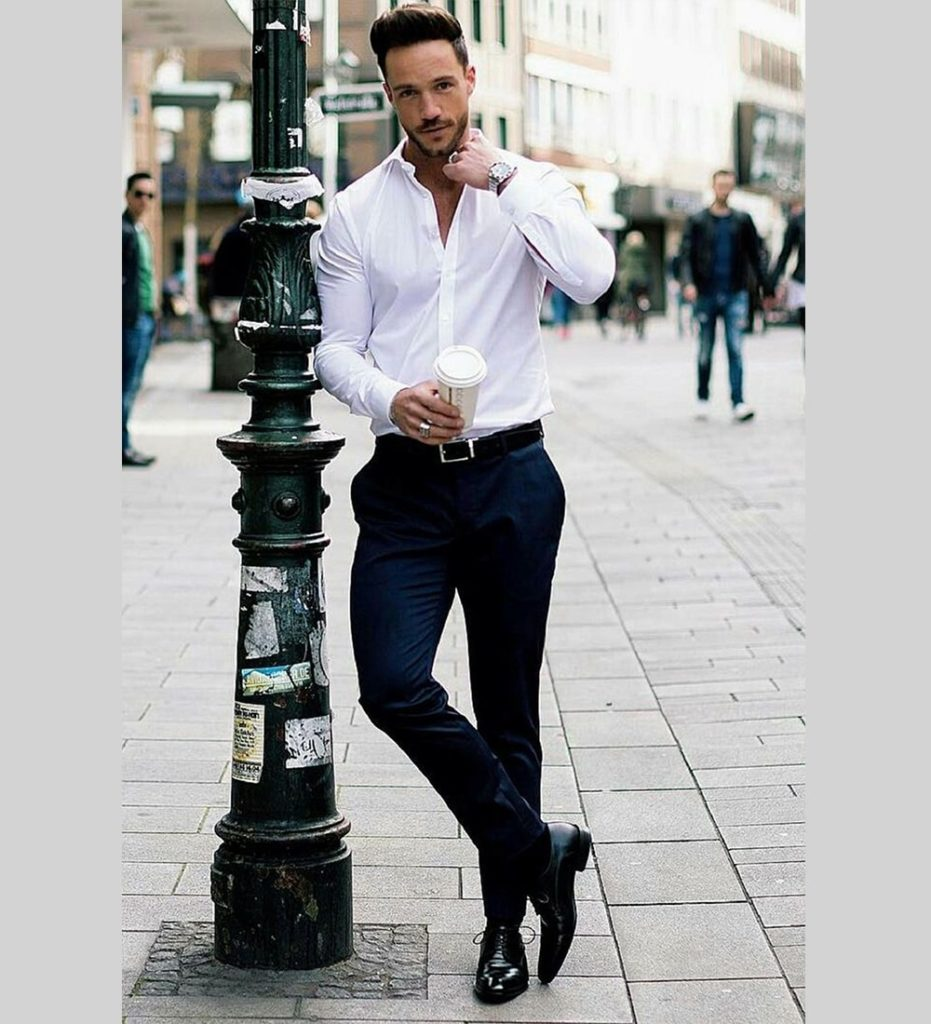 Formal White Shirt Black Pant Combination